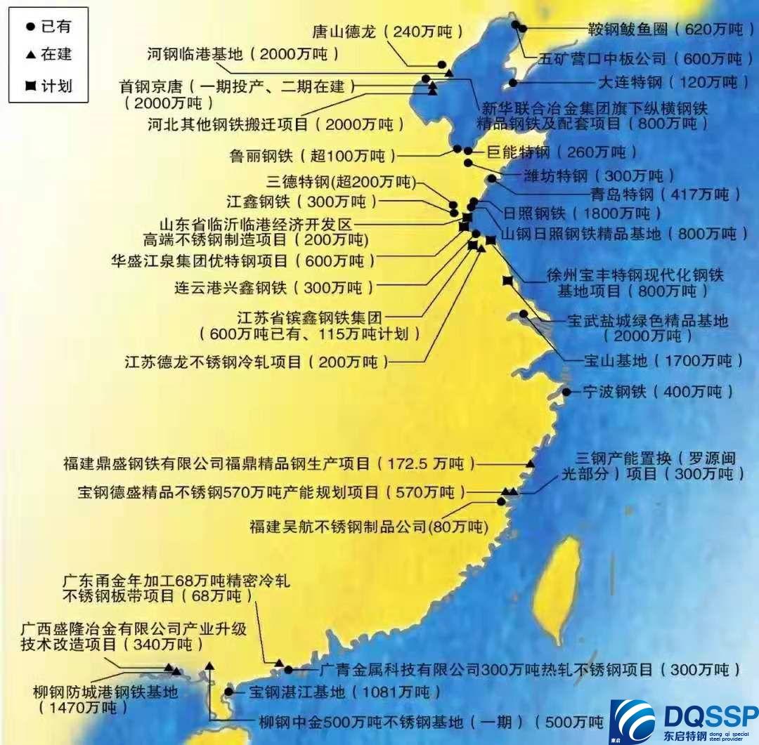 中國鋼廠分布圖